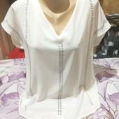 Эксклюзивная белоснежная со стразами шолковая блузка.Не просвищается.xl,xxl,3xl. Лотов много