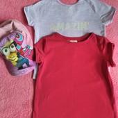 Комплект футболок+кепка для девочки на 6-7лет.