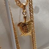 оригинальная подвеска черепашка, на браслет или цепочку, позолота 585 пробы