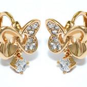 супер! нежнейшие и красивые детские круглые серьги-бабочки с фианитами, позолота 585 пробы