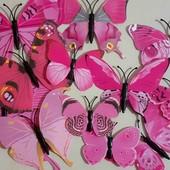 Набор декоративных бабочек на стену с магнитами и двусторонним скотчем