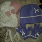 2 шапочки разной плотности с перчатками