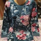 Эксклюзивная яркая со стразами с разноцветным принтом трикотажная блузка. 3xl,4xl,5xl. Лотов много