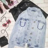 Мега крутая джинсовая куртка с заводскими потертостями и пайетками