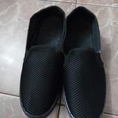 Черные текстильные мокасины сетка. Размер 40, стелька 26 см