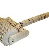 Ручной массажер деревянный, роликовый с ручкой
