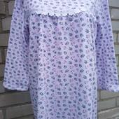 Ночная женская ночная рубашка утепленная на байке,100% хлопок,50,52,54,56..