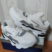 Кроссовки со светоотражающей вставкой белые\черные 38( 24см)