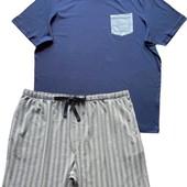 Мужская хлопковая трикотажная пижама большой размер футболка/шорты, livergy, xxl 60-62