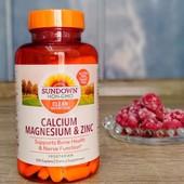 Кальцій + Магній + Цинк, Sundown naturals, 100 капсул, Америка