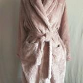 Мега пухнастий плотний добротний об'ємний брендовий халат з мікрофібри у відмінному стані С М Л