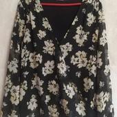 Комбинированная блузка (ткань+трикотаж)на резинке