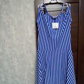 Фирменное новое красивое коттоновое трикотажное платье с открытыми плечами р.16