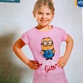 Хлопковые футболочки Minion (Германия) Цвет- розовый. Размер 110/116