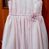 Нежно-рощовое платье блёстки фатин с цветком 134/140