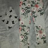 Плотные лосины треггинсы с цветочным принтом + кофточка в подарок 8-10 лет