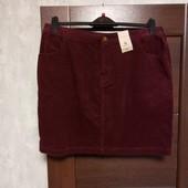 Все по 100! Фирменная новая красивая коттоновая юбка р.16.