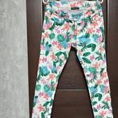 Всё по 100! Фирменные красивые коттоновые джинсы-стрейч в отличном состоянии р.12-14