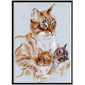"""Алмазная вышивка """"Кошка с котятами"""". Полная выкладка"""