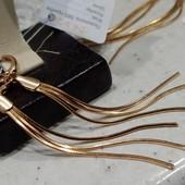 шикарные и оригинальные удлиненные серьги-висюльки, позолота 585 пробы