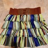 ❤Красивая, яркая юбка для девочки 11-14л(см.замеры).шифон. Широкий, качеств.пояс, подкладка, супер❣