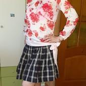 Шикарная блузка в цветах+фирменная юбочка,S-M