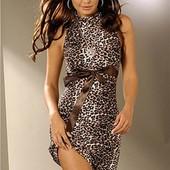 #Платье леопардовое ## с атласной лентой # в идеальном состоянии на S-M