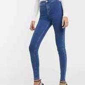 классные высокие голубые джинсы скини по бирке рр 12,высокая талия