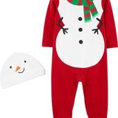 Человечек и шапочка Снеговик от Carter's на 3 мес. Сліп чоловічок піжамка сніговик шапочка, оригінал