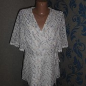 Нежная белая блуза в цветы 18 р.