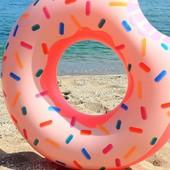 Надувной круг для плавания Intex Пончик Фламинго | пляжный круг надувной | надувний круг