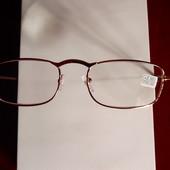 Очки для зрения с диоптрией в металлической золотой оправе, +2,25