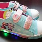 Стильные детские кеды-кроссовки с Led подсветкой при ходьбе