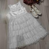 Праздничное платье с балетками на 7-8 лет.Стелька в туфельках 21см.