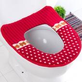 Теплый плюшевый мягкий двухслойный чехол на сиденье унитаза