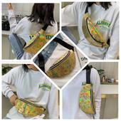 """стильная голографическая сумка-бананка .""""""""геометрия"""""""".цвет золото."""