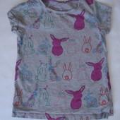 Фирменная Next футболка с зайцами девочке 6-7 лет хлопок идеал