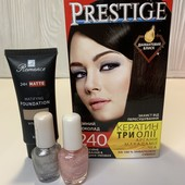 Лот 4 ед. краска Prestige 240 темный шоколад, тон.крем Romance тон 06, лак для ногтей 2 шт