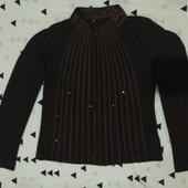 Эксклюзивная коричневая с коричневыми поедками стречь блузка.