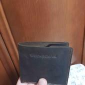 Мужской черный кошелёк визитница из натуральной кожи