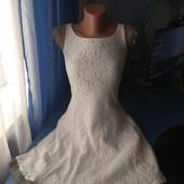 Нарядное гипюровое платье на подкладке, р.S/170