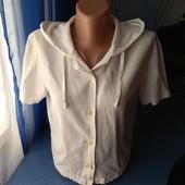Укороченная рубашка/топ с капюшоном, р.44-46