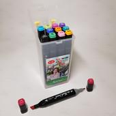 Скетч маркеры, фломастеры touch cool двусторонние для бумаги в пластиковом контейнере набор 12 шт