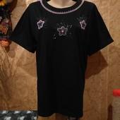 Эксклюзивная чёрная с разноцветными бисером трикотажная блузка. xl,xxl,3xl. Лотов много