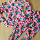 теплая пижама махра/травка 4-6 лет 110-122