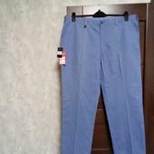 Фирменные новые мужские коттоновые летние брюки-слаксы р.42R на пот-53, поб-64,5