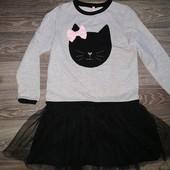 Новое!Невероятное платье с котиком Видоли! Супер в школу! 8-10лет