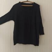 Новый черный свитер круной вязки, размер 48/52