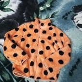 Шикарная тёплая махровая кофта на молнии, состояние отличное 4-6лет