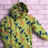 """Демисезонная детская теплая куртка для мальчика """"Динозавры"""" 5-8 лет!"""